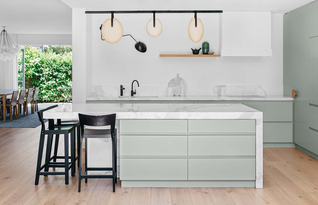 Soft sea foam kitchen by Arent Pyke