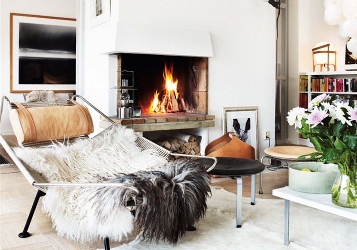 Hygge Modern Living Room Faux Fur Throw Brick Fireplace