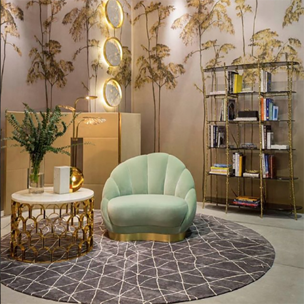 The gingerandjagger stand at maisonobjet shows two of the strong interiors trends art deco style and velvet upholstery